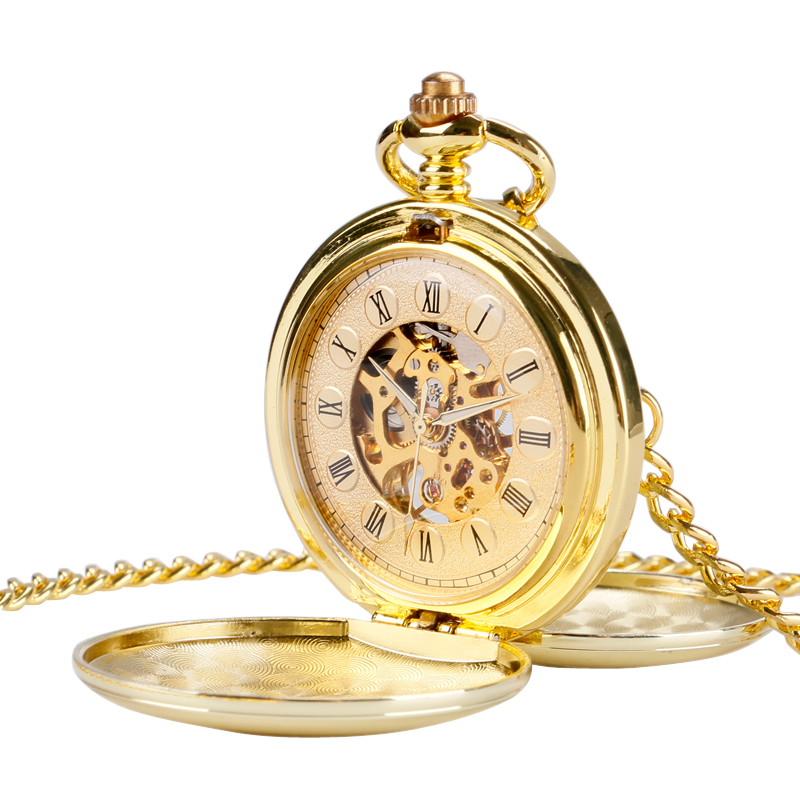 Golden Smooth Steampunk Pocket Watch Clock Women Double Hunter Mechanical Hand Wind Pendant Simple Stylish Fob Watches stylish bicycle lock and round pendant double sweater chains for women