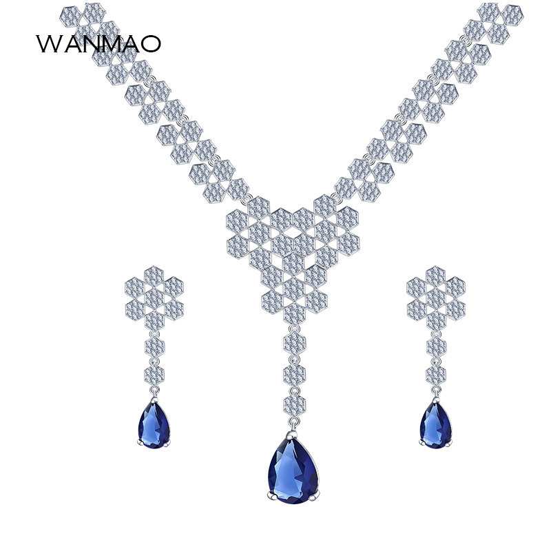 Fashion honeycomb shape micro-set rhinestone earrings necklace two-piece suit ladies jewelry set TA170 floral shape rhinestone earrings