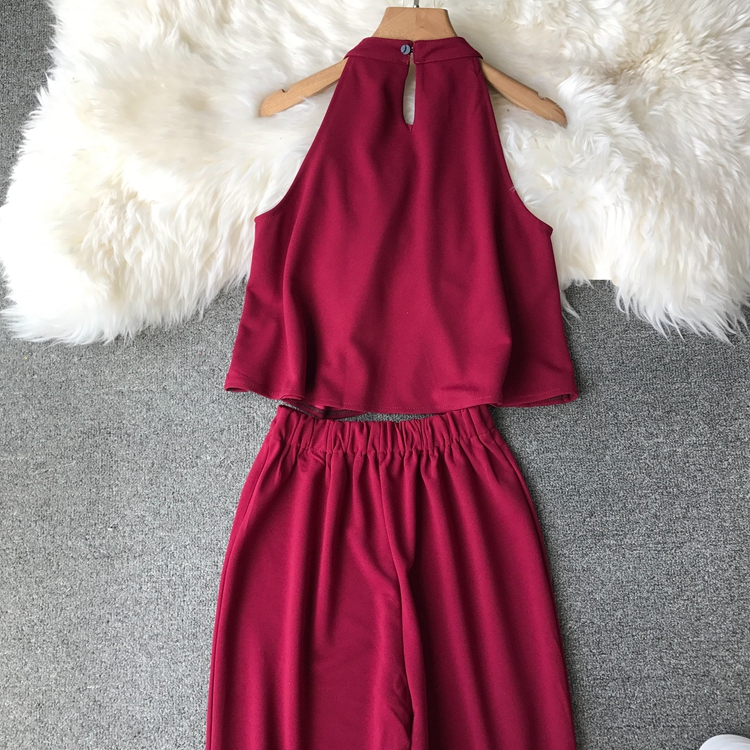 HTB1PY7xVCzqK1RjSZFpq6ykSXXaO - two piece set women fashion sexy short top and long pants casual sleeveless Elastic high waist female summer festival clothing