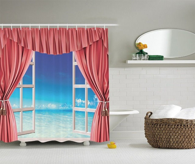 Shower Curtain White Window Frames Opening to Exotic Blue Paradise ...