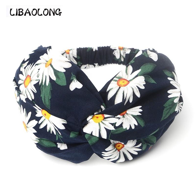 LIBAOLONG Fashion Girl Women Flower Women Turban Headband Milan New Elastic Headbands for Women Hair Accessories