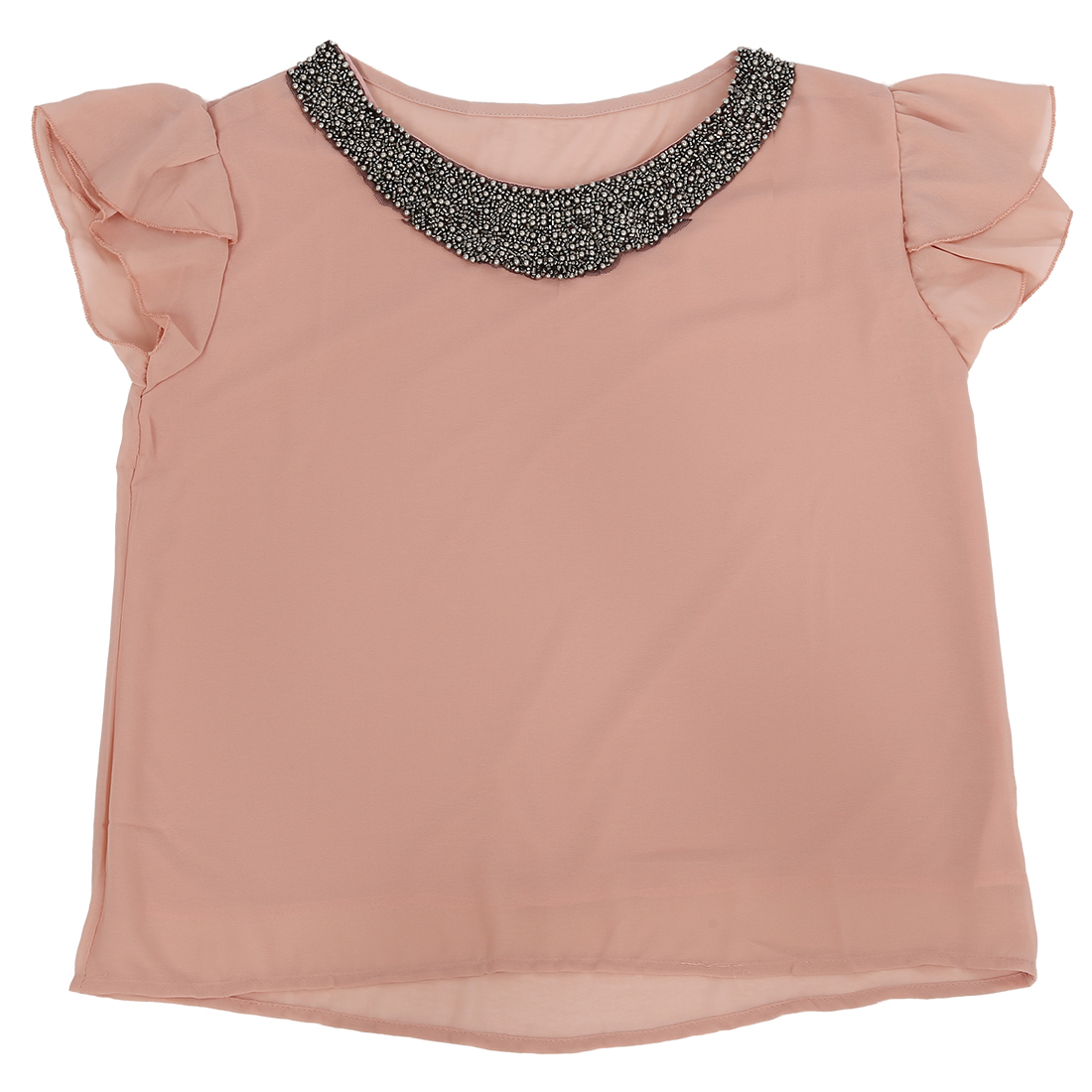 fashion women chiffon casual vintage Beading O-neck Pullover shirts Nude pink