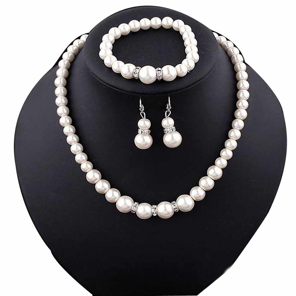 Real Pearl Jewelry White Natural Broque Freshwater Pearl Necklace Bracelet For Women Trendy Gift