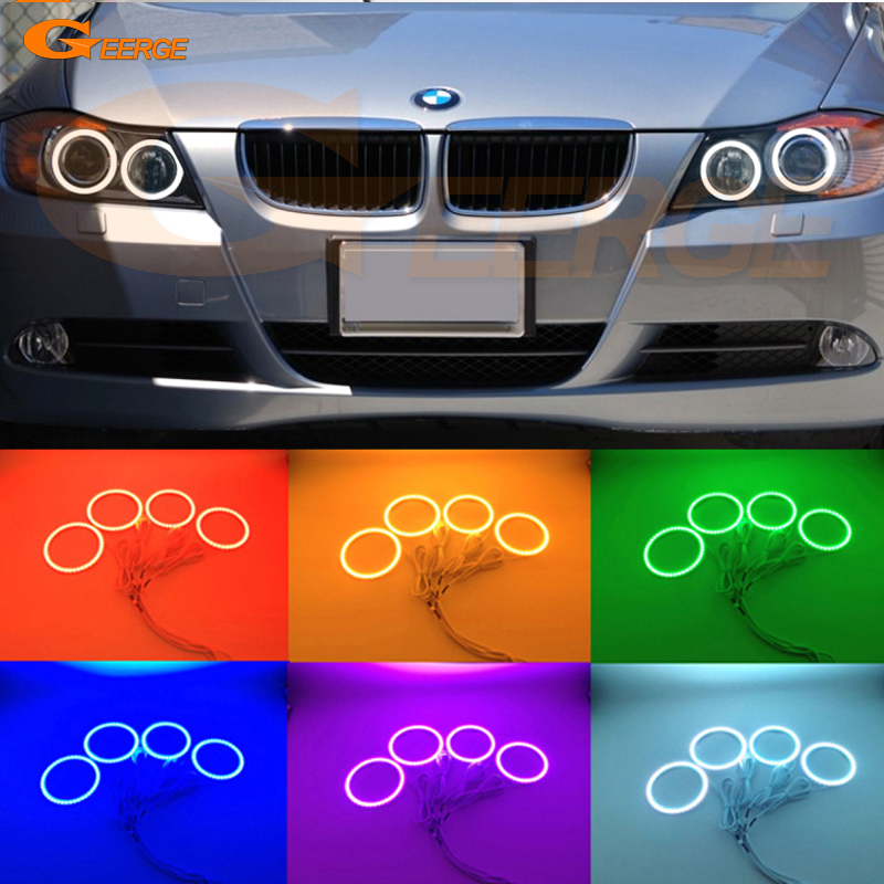 For BMW 3 Series E90 E91 2006 2007 2008 Xenon headlight Excellent Multi-Color RGB LED Angel Eyes kit halo rings