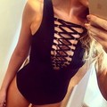 2017 Sexy Bodysuits Women Club Party Skinny Black Combinaison Femme Sleeveless Hollow Out Bandage Rompers Womens Jumpsuit J04