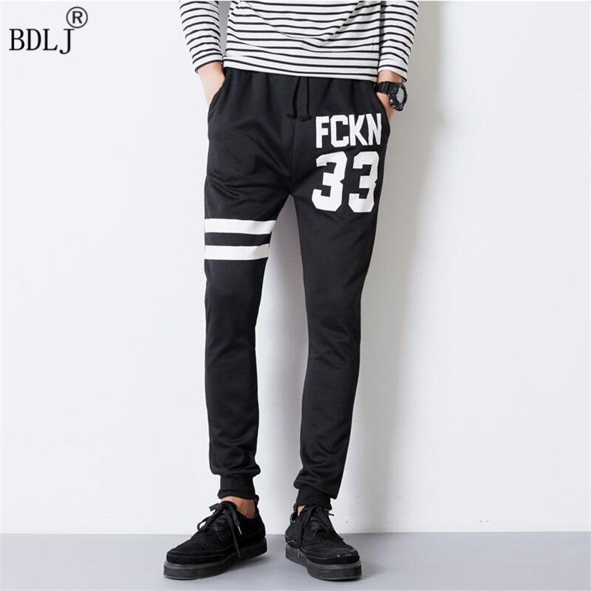 2017 Hot Fashion Men's Pants New York Letter Print Sweatpants Joggers Male Cotton Lace-up Casual Trousers Pants