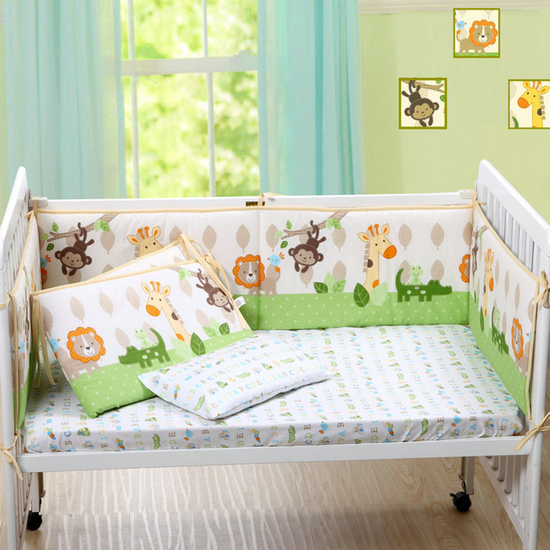 Cute Cartoon Cotton Baby Bumper monkey Lion Deer Bed Crib Bumper for Baby Crib Protector of Baby Cribs for Newborns Bedding 4pcs newborn baby cute plush bed stroller cartoon elephant lion hanging toy infant rattle grasp educational toy toddler crib product