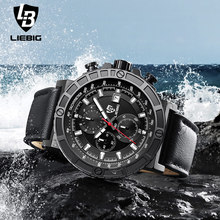 Hot Analog Quartz Men Watch Military Stopwatch Leather Men Watches Water Resistant Male Wristwatch Relogio Masculino LIEBIG