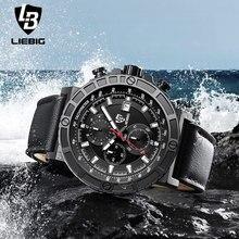Hot Analog Quartz Men Watch Military Stopwatch Leather Men Watches Water Resistant Male Wristwatch Relogio Masculino LIEBIG