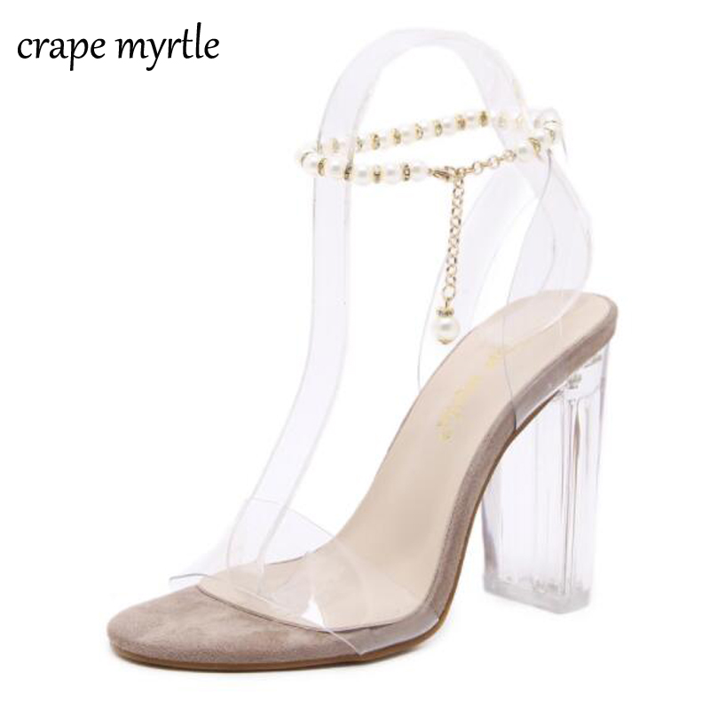 Summer Sandals 2018 Women Sandals Transparent shoes High Heels Pumps crystal shoes Zapatos Mujer thick heel sexy Sandals YMA40
