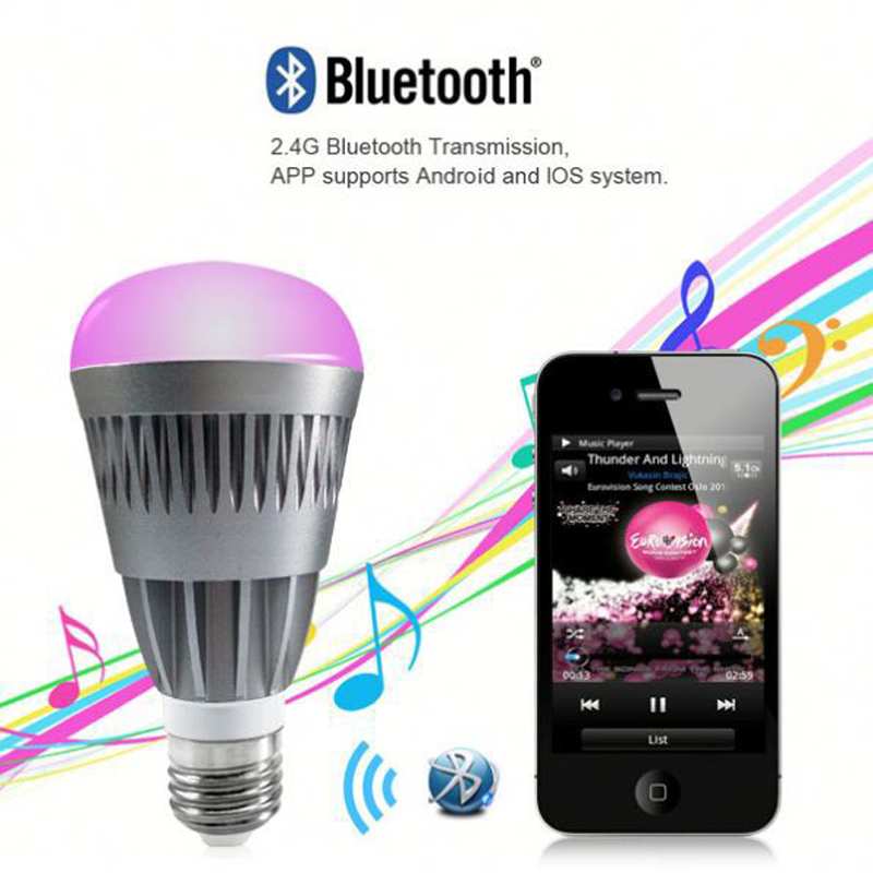 Android and IOS phone via App10w melody smart music RGB light bulb bluetooth control 4.0 version app remote smart bulb e27 led rgb light wireless music led lamp bluetooth color changing bulb app control android ios smartphone