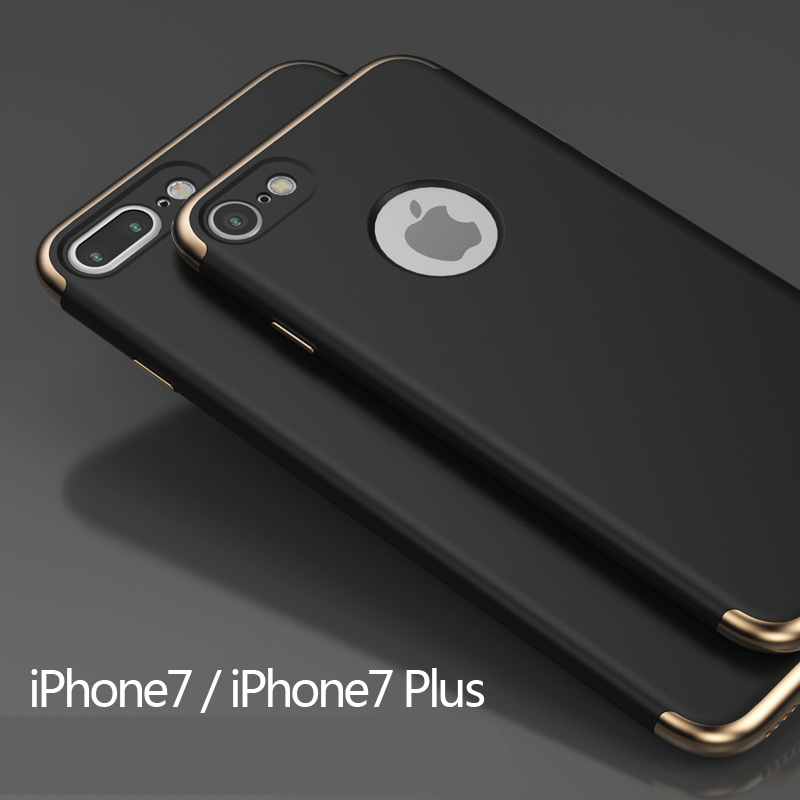 Hard Back PC Coque Cover For iPhone 7 Mobile Phone Cases 3 in 1 Gold Plating Fundas For Apple iPhone 7 Plus