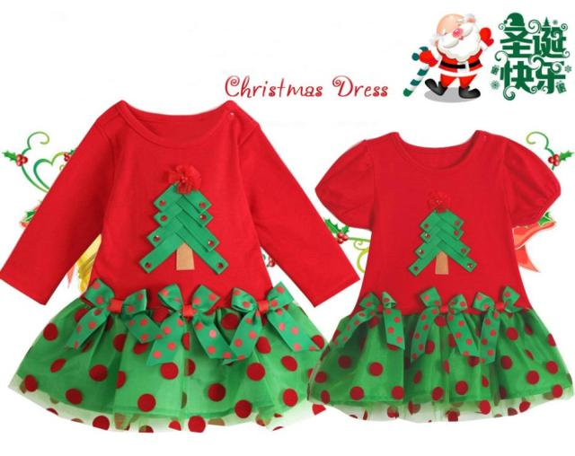 9c10a855b6b8e Christmas costumes Girls Red Lace Silk ribbon new year dress with Christmas  tree Applique Polka dot