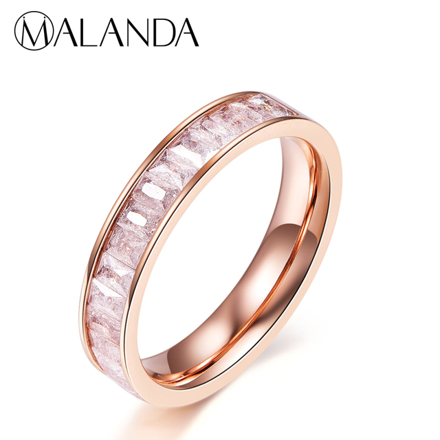 3af276238c046 US $2.99 40% OFF|MALANDA Brand Fashion Colorful Crystal from Swarovski  Zircon Rings For Women Titanium Steel Female Weddings Rings Jewelry Gift-in  ...