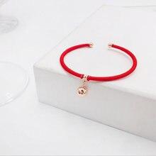 Новый переводной браслет с круглыми бусинами и Красной веревкой