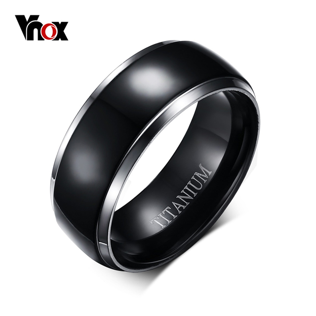VNOX 100% Titanium Ring Men Jewelry Classic Black 8mm Boyfriend Gift
