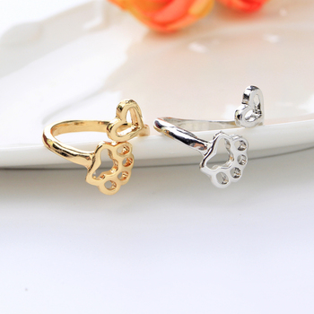 simple adjustable hollow Pet paw prints heart rings women animel Dog Cat lover Ring men Cute Puppy Paw Memorial Ring Jewelry