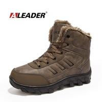 ALEADER Kış İş Boots Erkekler Rahat Açık Kar Botları Su Geçirmez Deri sıcak Ayakkabı Için Büyük Boy 14 Güvenlik Ayakkabıları Erkekler Kürk Botas