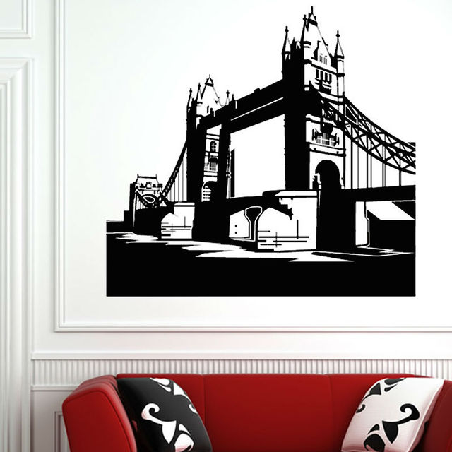 Grand london bridge silhouette wall sticker home decor vinyl removable waterproof wall decal mural for living