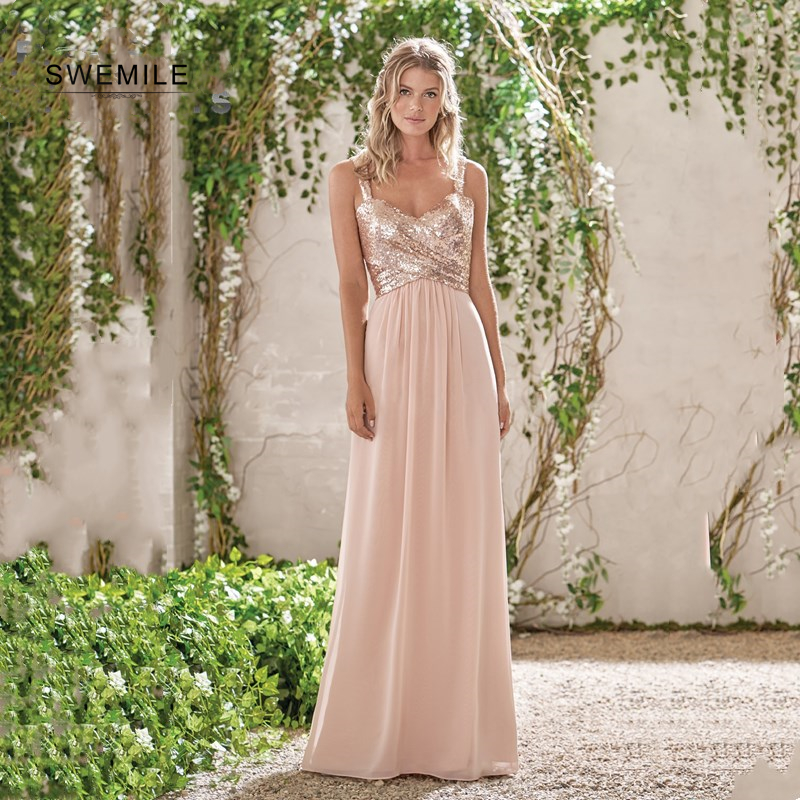 SWEMILE Custom Made Sequins Pink   Bridesmaid     Dress   Sexy Open Back Wedding Party   Dresses   Robe Demoiselle D'honneur