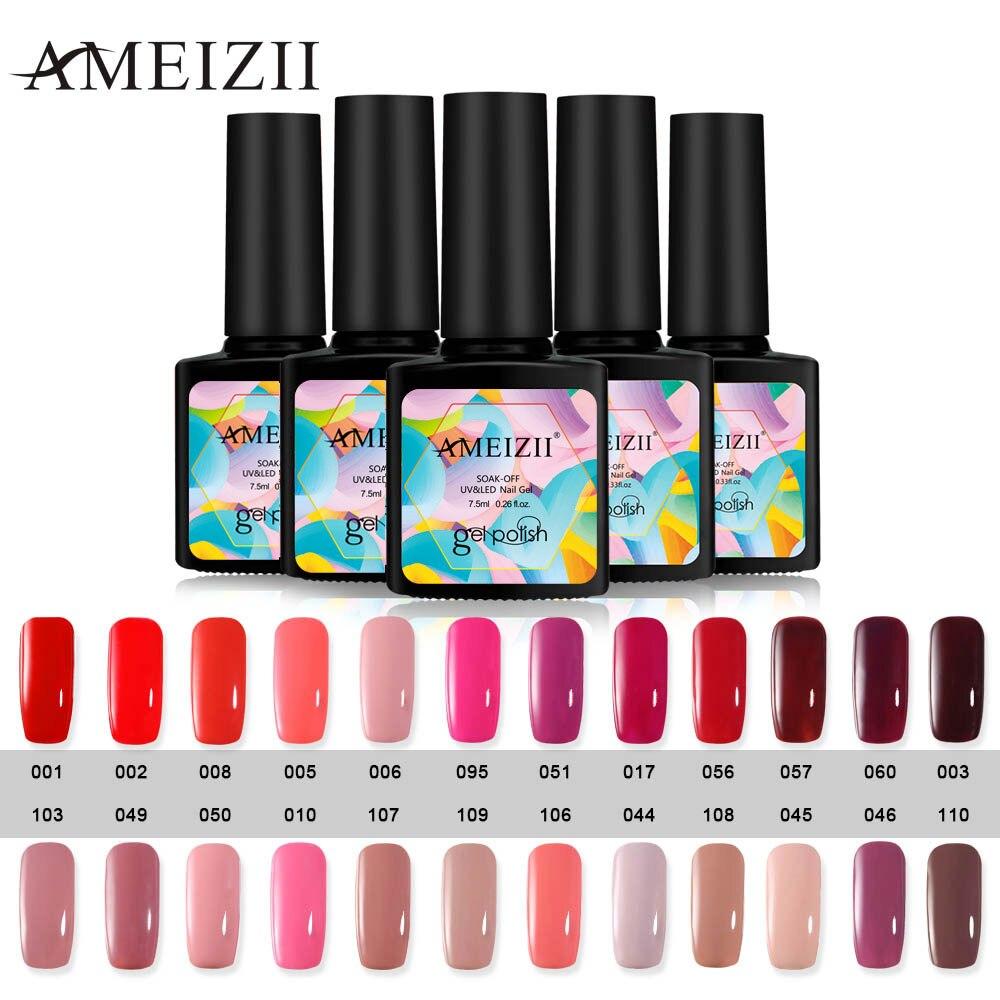 AMEIZII UV Nail Gel Gray Red Pink Gel Nail Polish Soak Off Top Base Coat Gel Nail Primer Varnish Lacquer Manicure of 24 Colors