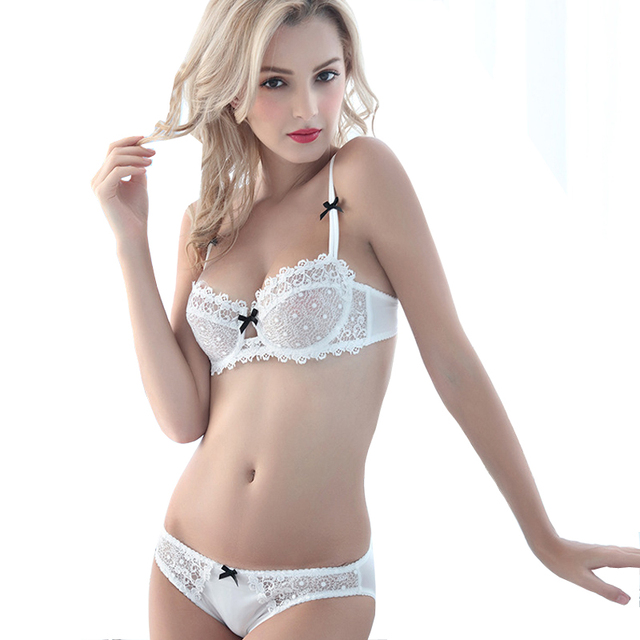 bc2a3b4104351 MINGMO 2018 Sexy Small Girl Bra Set Push Up Lace Ultra Thin Cup Transparent  1 2 Cup Lingerie Women Underwear Bra   Brief Sets