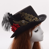 Vintage Steampunk Feather Gear Top Fedora Gothic Victorian Unisex Party Black Hat