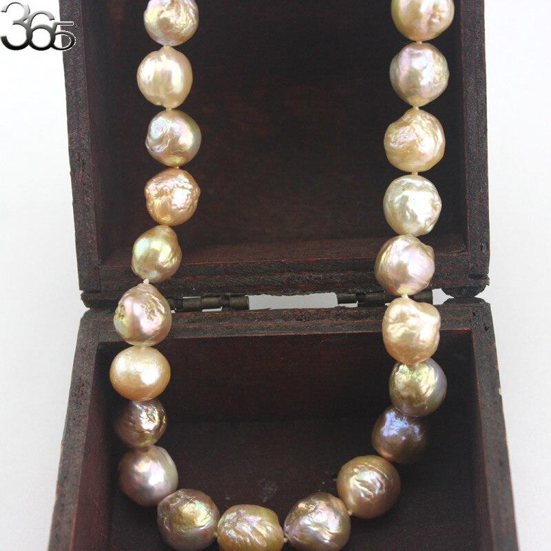 Livraison gratuite 10-12mm coloré véritable naturel eau douce Edison Reborn rond grande perle perle or rempli fermoir collier 18 pouces - 6