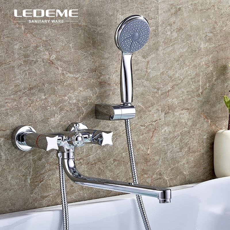 LEDEME Long Spout Bathroom Bathtub Faucet Shower Set Brass Double Handle Body Showers with y Handhead ABS Shower Head L2687