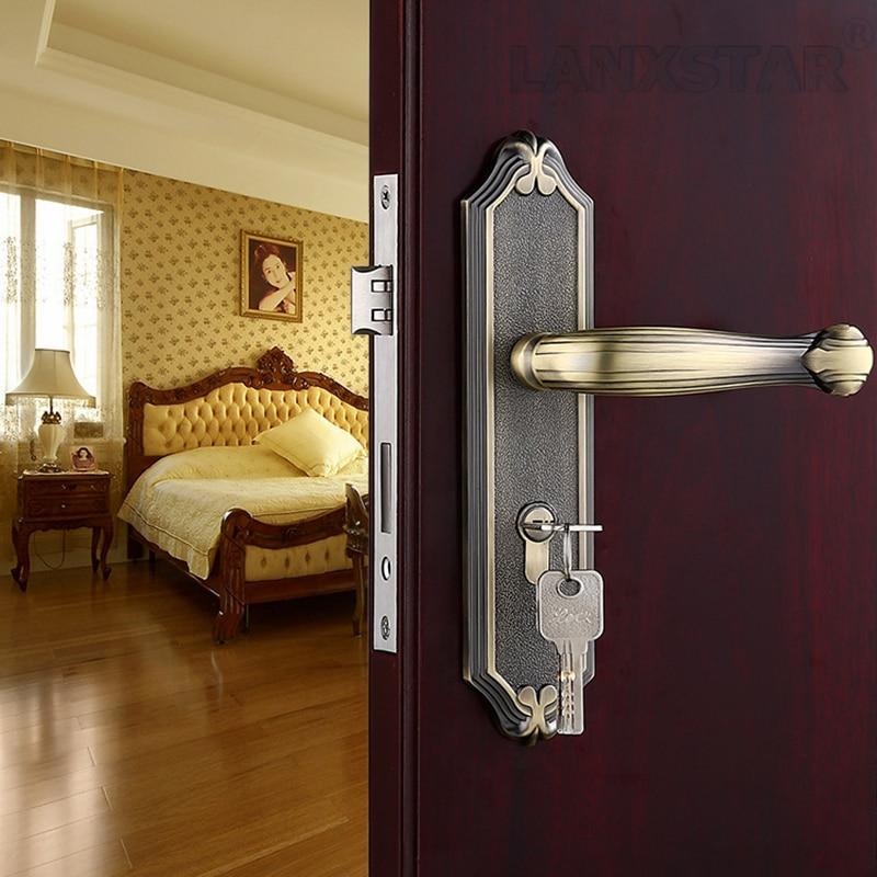 Factory Direct Supply Zinc Alloy Handle Lock Indoor Mute Lockset Copper Lockcore Antique Style Room Locks