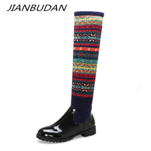 JIANBUDAN/ Christmas womens boots Autumn sexy thigh Winter over-the-knee Large size high 34-46