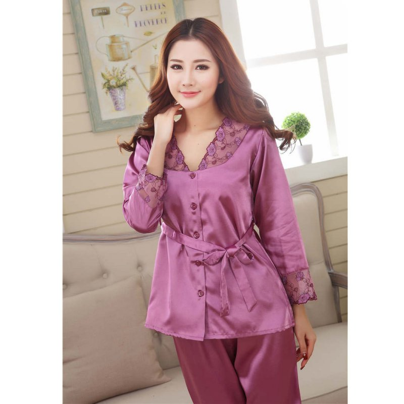 2 Pieces Nightwear Sleepwear   Pajama     Set   Women Satin Silk Lace Long Sleeve Casual Women Nightgowns pyjama femme