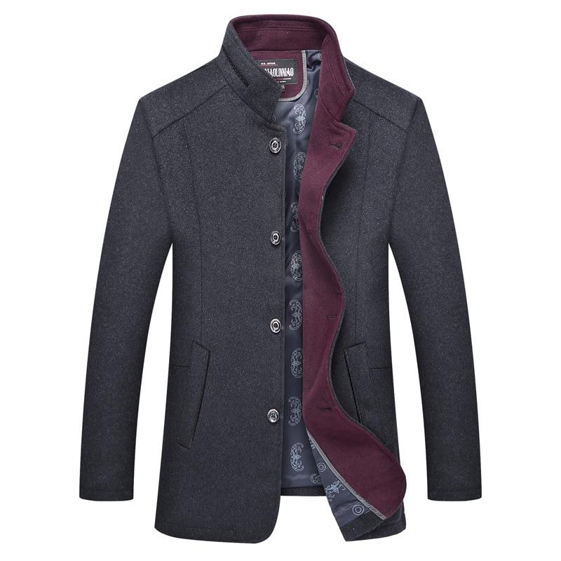 Brand New Mens Wool Coat Witner Fashion Fur Collar Male Casual Pea Coat Men Long Jacket Overcoat Abrigo Hombre M-4XL AY1717