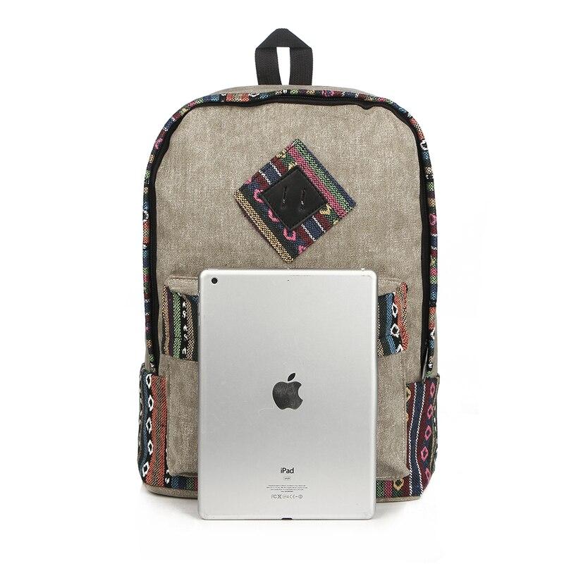 Vintage School Backpack Women Schoolbags For Teenager Girls Canvas Backpacks Student Book Bag National Mochila Bolsas De Saco #4