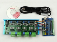 MACH3 USB CNC 5 Axis 100KHz Smooth Stepper Motion Control card breakout board+TB6600 4 Axis 4.5A Stepper Motor Driver board