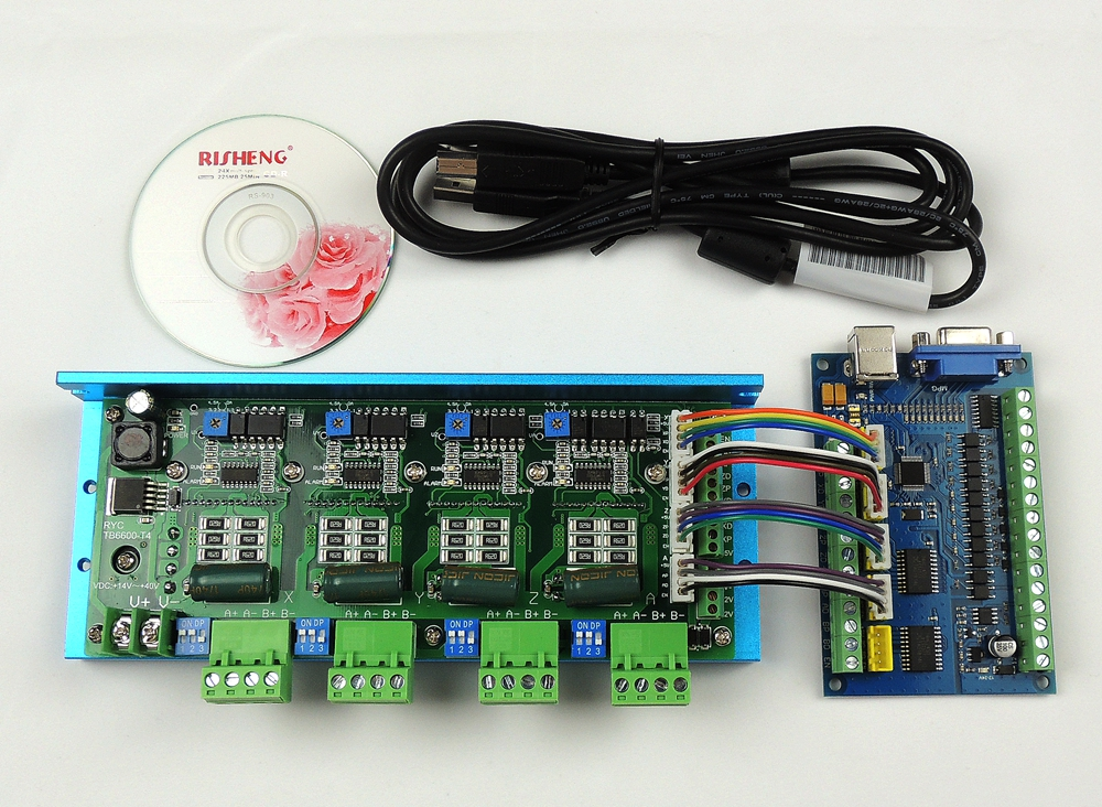 MACH3 USB CNC 5 Axis 100KHz Smooth Stepper Motion Control card breakout board+TB6600 4 Axis 4.5A Stepper Motor Driver board-in Motor Driver from Home Improvement    1