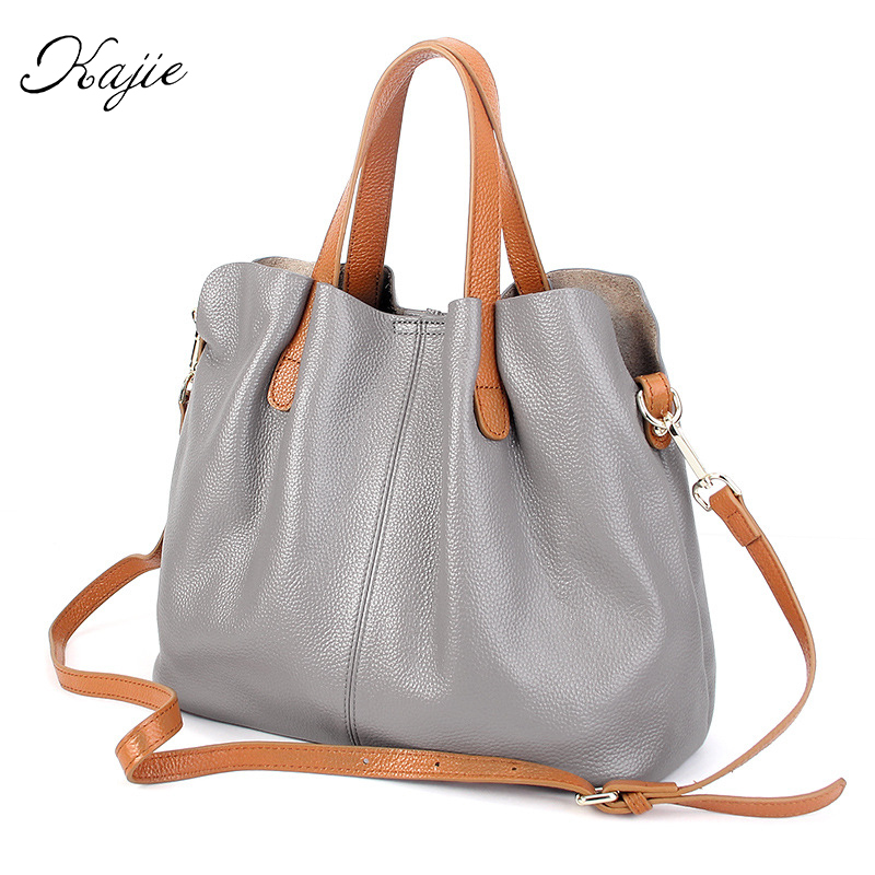 Kajie Luxury Women Designer Handbags High Quality Brand Genuine Leather Shoulder Bag Female 2017 Vintage Tote Bags Blue Bolsas women vintage composite bag genuine leather handbag luxury brand women bag casual tote bags high quality shoulder bag new c325