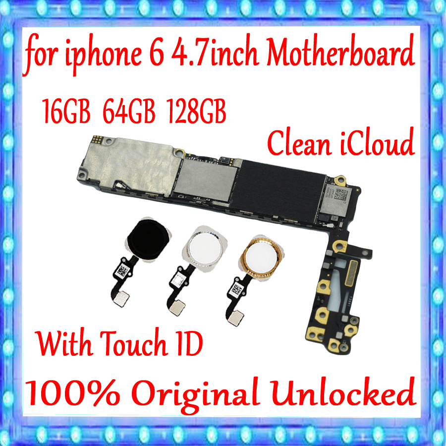For iPhone 6 4 7inch Motherboard Factory unlocked Mainboard With Without Touch ID 100 Original for