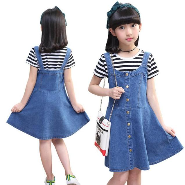 Teen Girls Summer Outfits Cotton Clothing Striped T-shirt Denim Dress Set Kids Jeans Costume Vestidos Menina For 6 8 10 12 14 Y