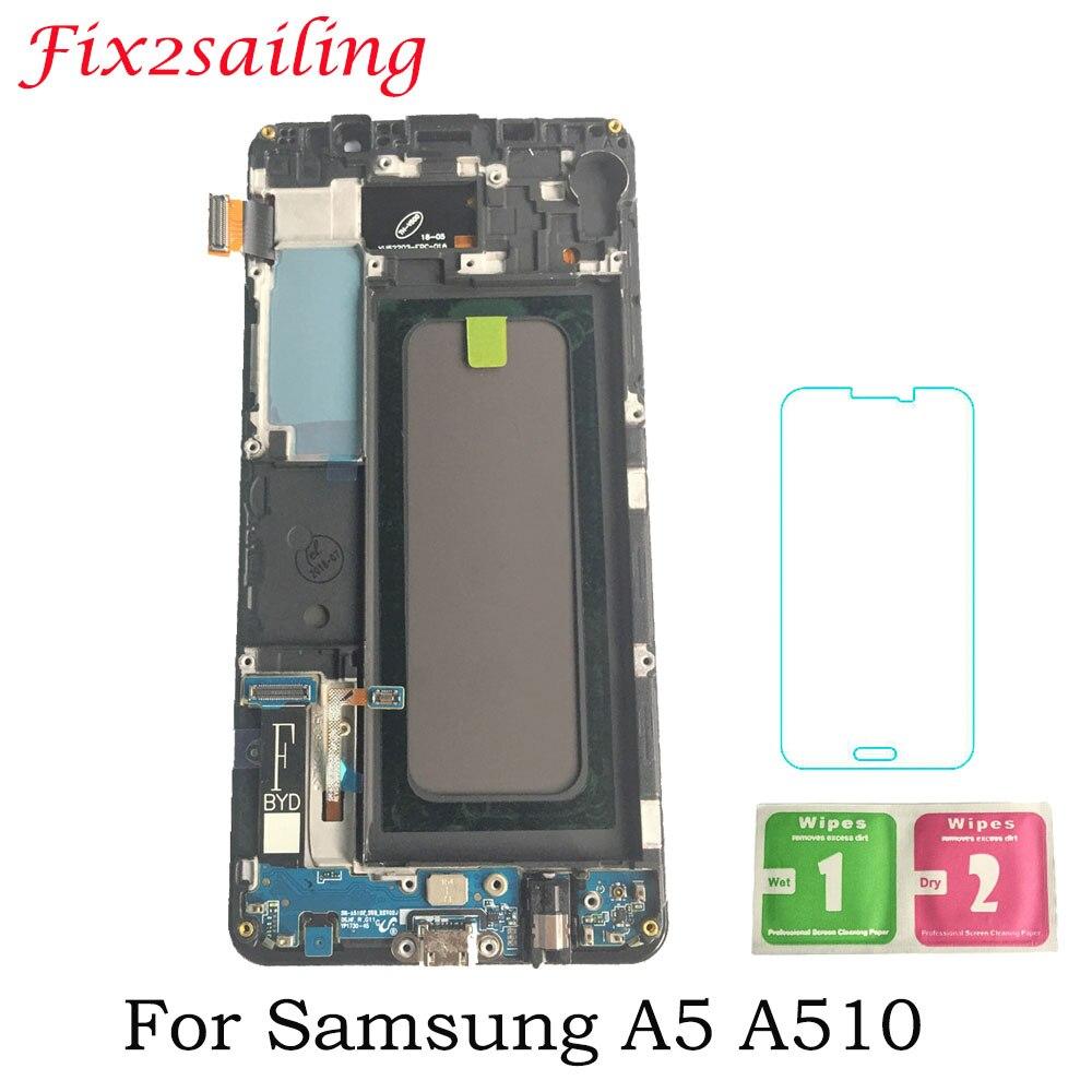 Super Amoled Pour Samsung Galaxy A5 2016 A510 A510F A510M SM-A510F LCD Affichage Écran Tactile Digitizer Capteur Panneau Écran