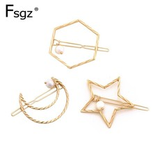 купить Geometric Gold Hairpins For Women Hollow Out Moon Hair Clips Pearls Star Hairgrips Vintage Hexagon Hairgrips Hair Accessories онлайн