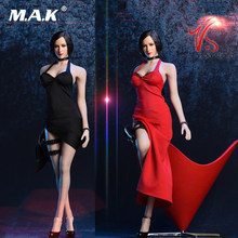 Figures Accessory 1:6 Sexy 18XG14 Ada Wong Dress Set 1/6 Hanging Neck Long Skirt Black Red colors For Big Chest Body(China)