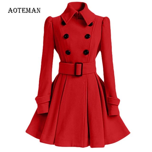 AOTEMAN Herfst Winter Jas Vrouwen 2019 Fashion Slanke Vintage Double Breasted Jasje Vrouwelijke Elegante Lange Slanke Warme Rode Blazer Mujer