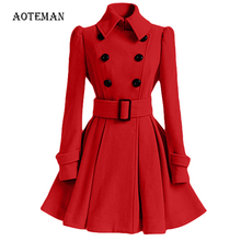 Autumn Winter Coat Women 2019 Fashion Vintage Slim Double Breasted Jackets Female Elegant Long Warm White Coat casaco feminino cheap AOTEMAN Polyester COTTON XD002 Turn-down Collar REGULAR Full Skirt Sashes Streetwear Solid Women Blazers Winter Autumn