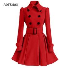 FLULU Autumn Winter Coat Women 2018 Fashion Slim Vintage Double Breasted Jacket Women Elegant Long Warm Red Blazer Female Mujer