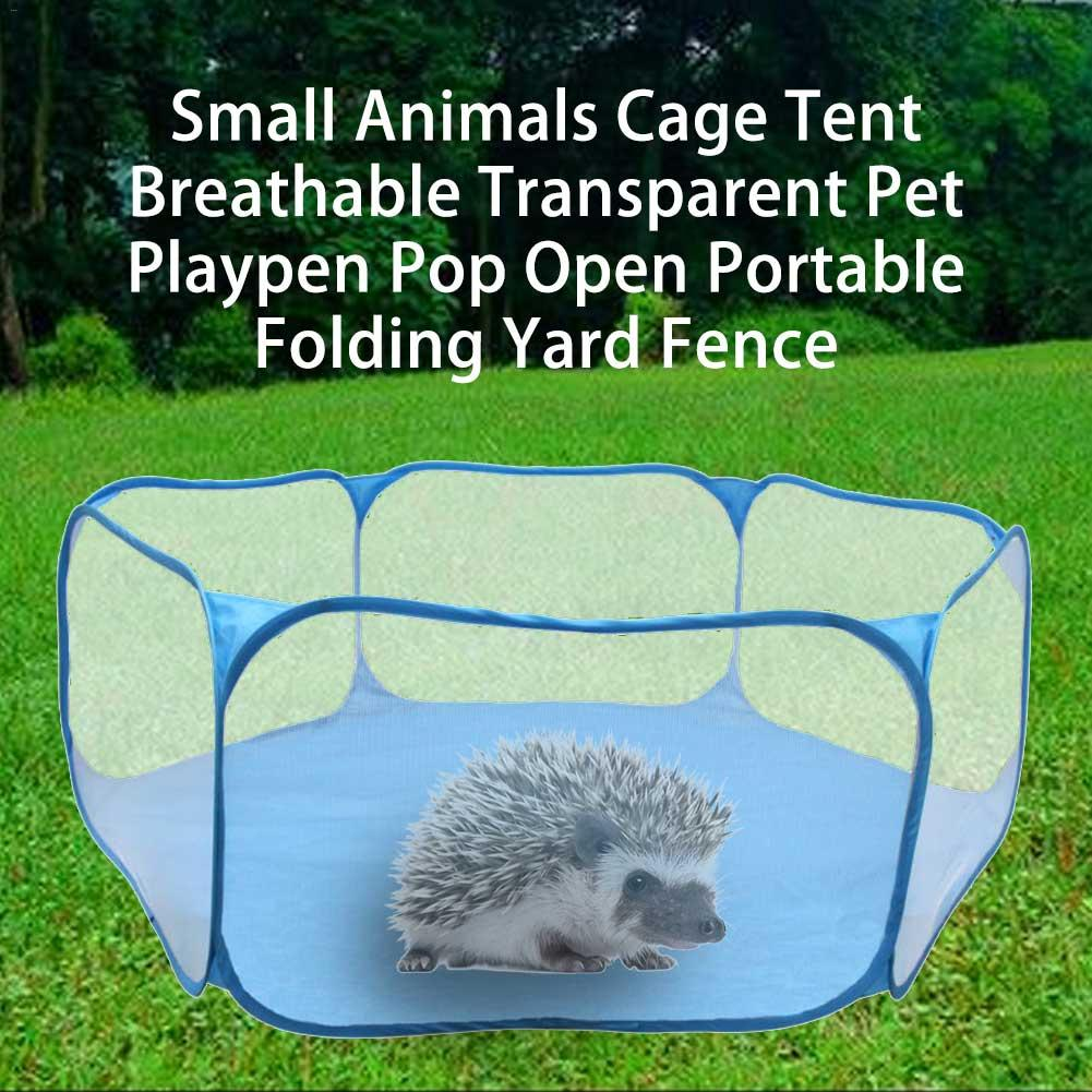 Rabbit Cage Tent Transparent Hedgehog Cage Small Pet Playpen Pop Open Portable Folding Yard Fence For Hedgehog Guinea Pig Rabbit
