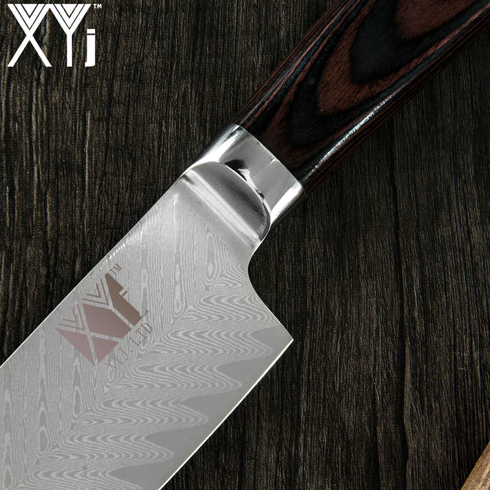 XYj 8 inch Damascus Steel Chef Knife VG10 Fish Pattern Blade Color Wood Handle Cooking Knife Kitchen Accessories Cooking Tools
