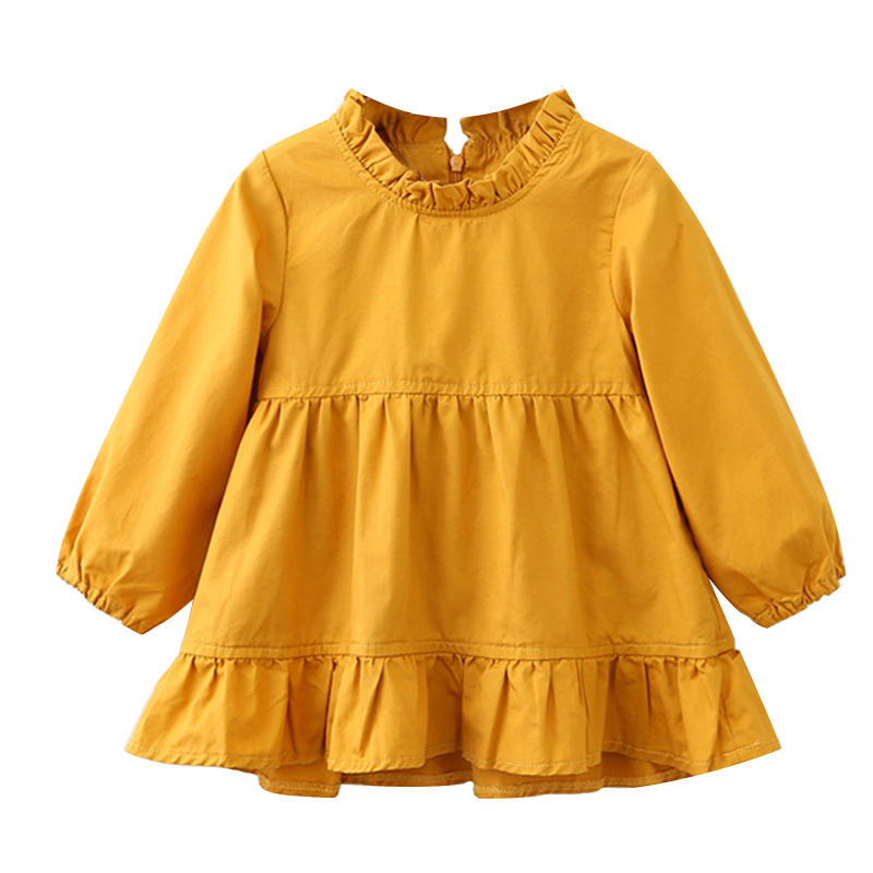 Menoea Girls Dress 2017 New Autumn Style Children Solid Color Long-Sleeve Dress For 2-6Y Girls Cute Crew Neck Clothing Dresses acthink 2017 new girls formal solid lace dress shirt brand princess style long sleeve t shirts for girls children clothing mc029