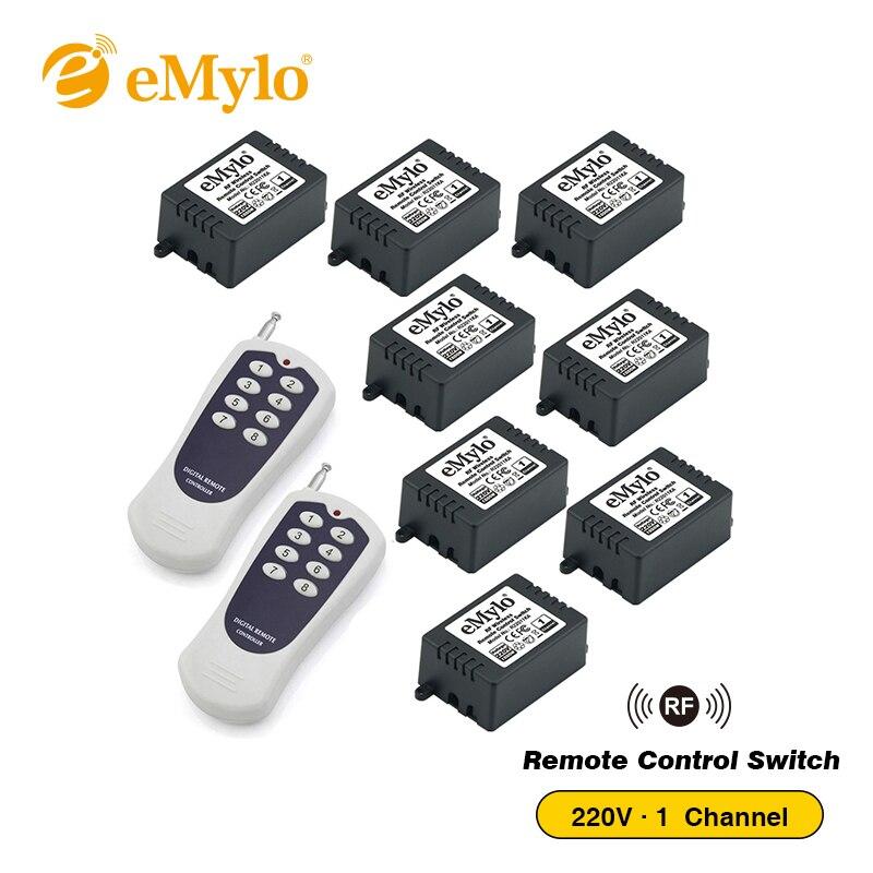EMylo AC220V 1000 Вт мгновенное переключение передатчик 8X1 канала реле 433 мГц РФ Smart Беспроводной удаленного Управление свет переключатель