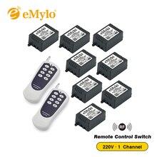 EMylo AC220V 1000 Вт Мгновенный переключатель передатчик 8X1 канал реле 433 мгц радиочастотный Смарт Беспроводной дистанционного Управление выключатель света
